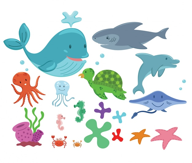 Zee dieren collectie Gratis Vector