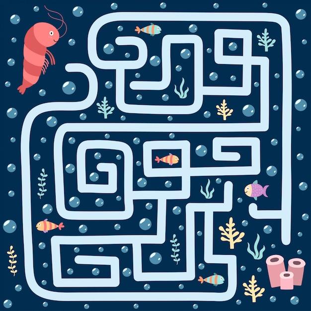 Zee doolhofspel voor kinderen. help de garnaal de weg naar haar huis te vinden. onderwater labyrint-werkblad. illustratie Premium Vector