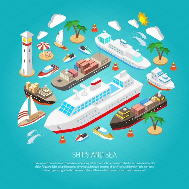 Zee en schepen concept Gratis Vector