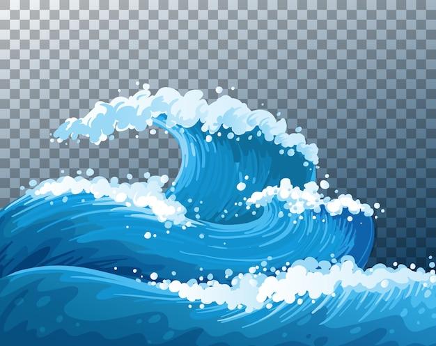 Zee gigantische golven transparante achtergrond Gratis Vector