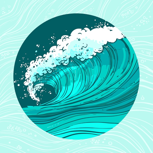 Zee golven cirkel illustratie Gratis Vector
