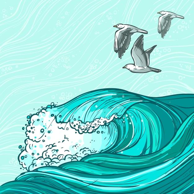 Zee golven illustratie Gratis Vector