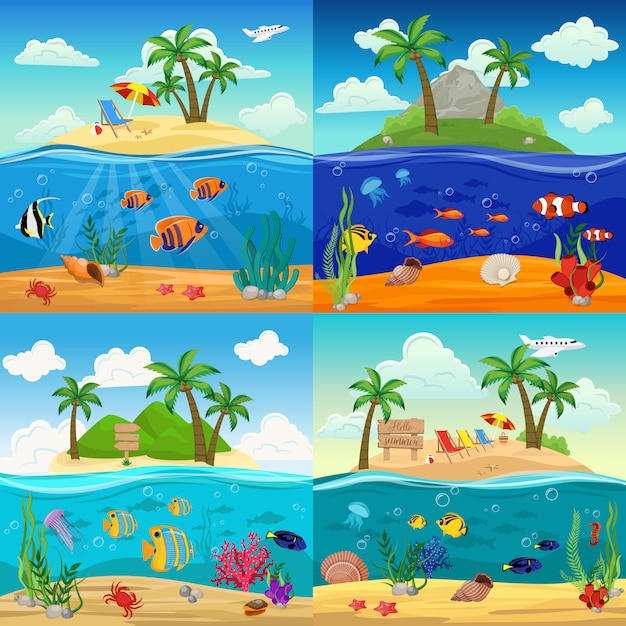 Zee onderwater leven illustratie set met vissen zeepaardje kwallen zeester schelpen krab zeewier op tropisch eiland landschap Gratis Vector
