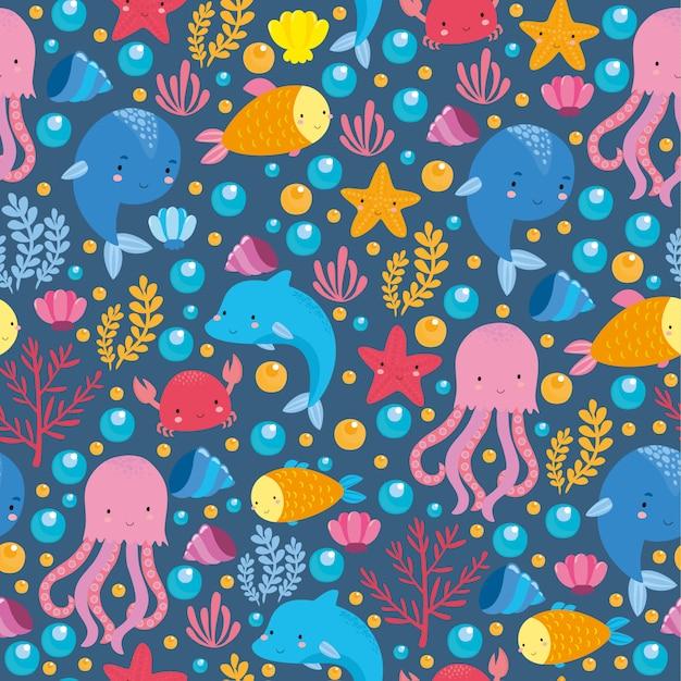 Zee patroon met schattige dieren Gratis Vector