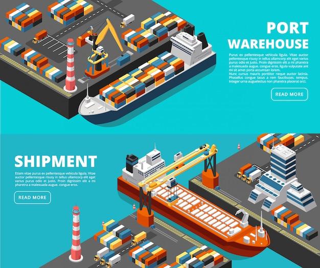 Zee transport horizontale zeevracht en verzending banners met isometrische zeehaven, schepen, containers en kraan Premium Vector