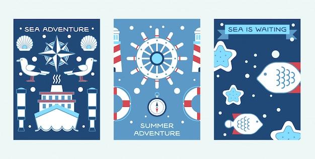 Zee zomer avontuur set posters nautische verzameling van dingen zoals schip wiel, spyglass, lifeline, vuurtoren. Premium Vector