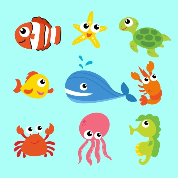 Zeedieren collectie Gratis Vector