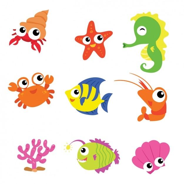 Zeedieren collectie Gratis Vector