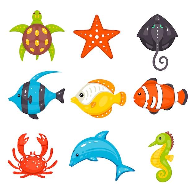 Zeedieren in cartoon hand getrokken stijl. zeeleven en onderwaterwezens bevatten schildpadden, zeesterren, pijlstaartroggen, vissen, krabben, dolfijnen, zeepaardjes. Premium Vector