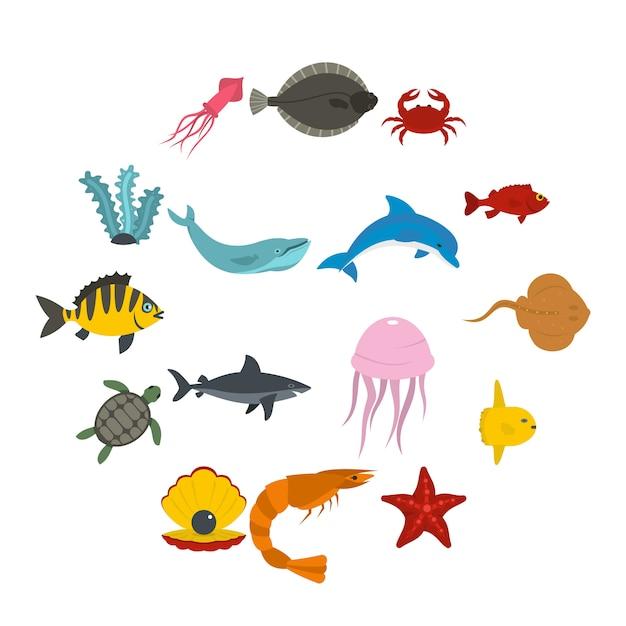 Zeedieren pictogrammen instellen in vlakke stijl Premium Vector