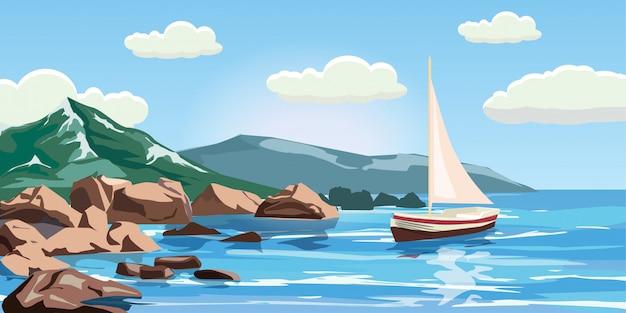 Zeegezicht, rotsen, kliffen, een jacht onder zeil, oceaan, branding, beeldverhaalstijl, vectorillustratie Premium Vector
