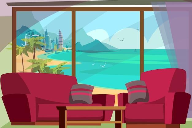 Zeegezicht uitzicht vanuit venster illustratie. panoramisch raam van de hotelkamer met uitzicht op de turquoise zee met jachten, bergen, zandstrand. luxe badplaats, stedelijk stadsgezicht met wolkenkrabbers, torens Premium Vector