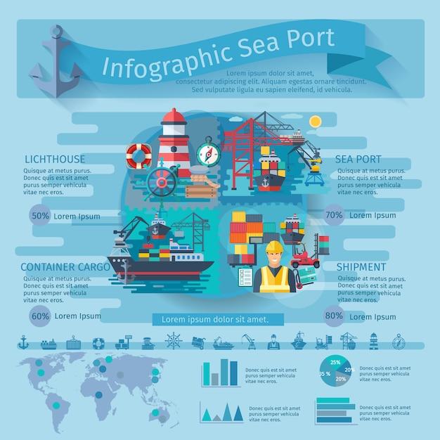 Zeehaveninfographics die met de symbolen en de grafieken van containerschepen wordt geplaatst Gratis Vector