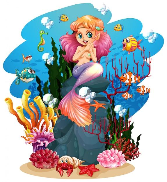 Zeemeermin en vissen onder water Gratis Vector