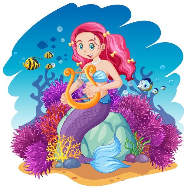 Zeemeermin en zee dier thema cartoon stijl op onder zee achtergrond Gratis Vector