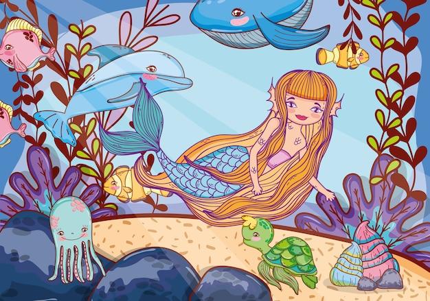 Zeemeermin schoonheid met dierlijke en tropische planten Premium Vector