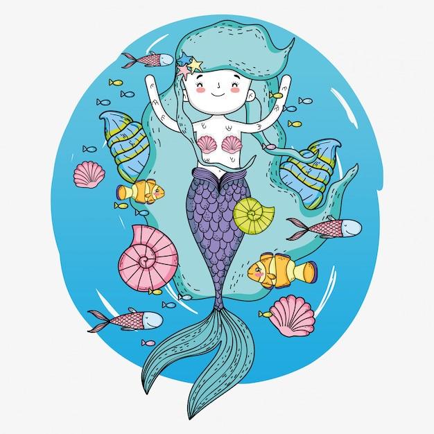 Zeemeermin vrouw met vissen en slakken onderwater Premium Vector