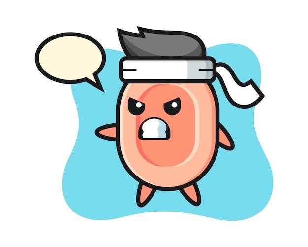 Zeep cartoon afbeelding als een karate-jager, leuke stijl voor t-shirt, sticker, logo-element Premium Vector