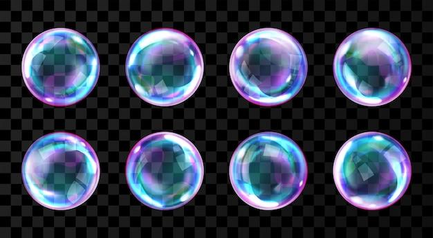 Zeep regenboog bubbels met reflecties Gratis Vector