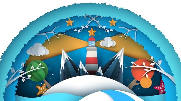 Zeepapierlandschap Premium Vector
