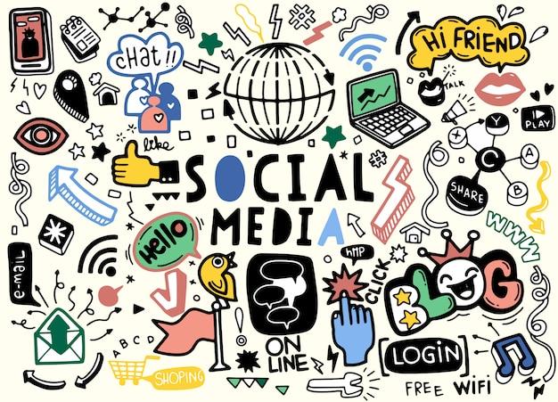 Zeer fijne tekeningen doodle cartoon set objecten en symbolen op het thema sociale media Premium Vector
