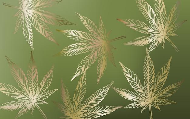 Zeer fijne tekeningen marihuana cannabis bladeren op groene achtergrond Gratis Vector