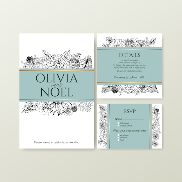 Zeer fijne tekeningen tropische bloem voor bruiloft uitnodigingskaart Gratis Vector