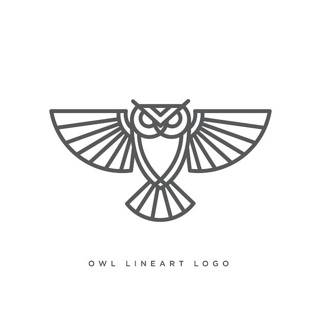 Zeer fijne tekeningen van uil logo Premium Vector