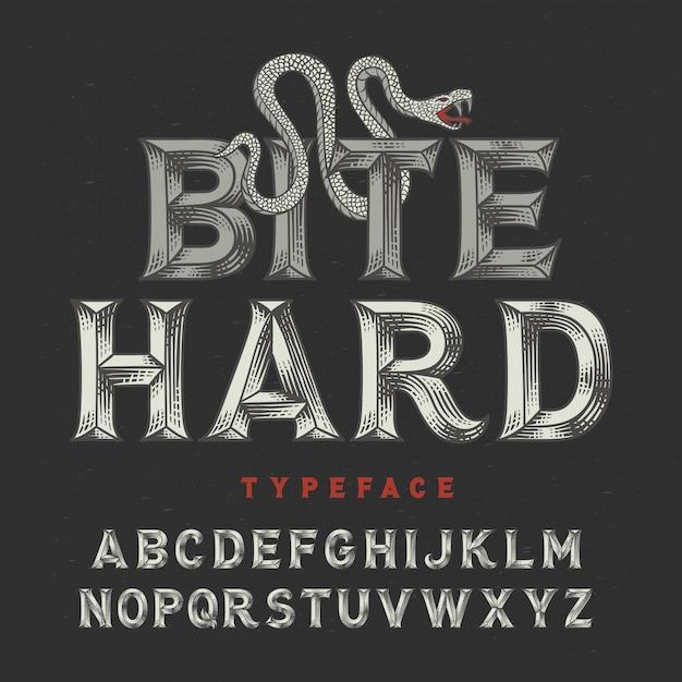 Zeer fijne tekeningen vintage lettertype Premium Vector