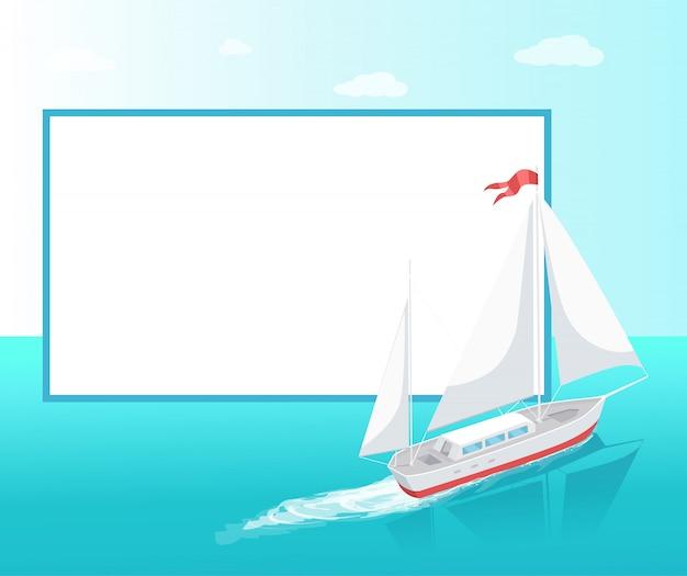 Zeereis poster frame modern yacht marine ship Premium Vector