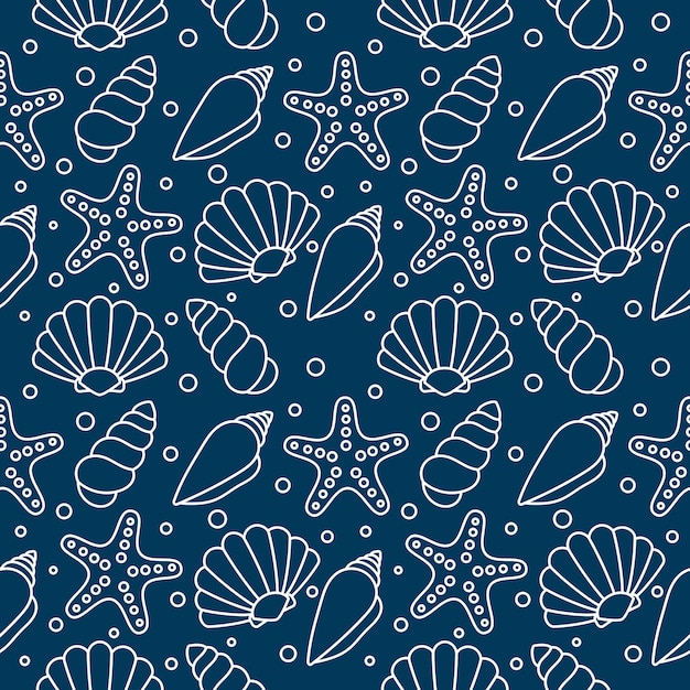 Zeeschelpen naadloze patroon. tropische schelpen onder water Premium Vector
