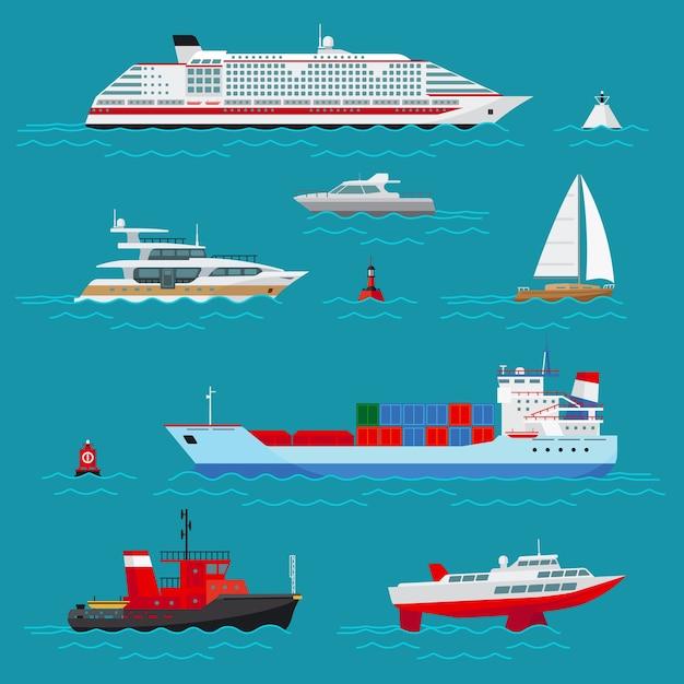 Zeeschepen ingesteld. zeetransport, zeevervoer, levering en verzending, boei en boot, cruiseschip en sleep Gratis Vector