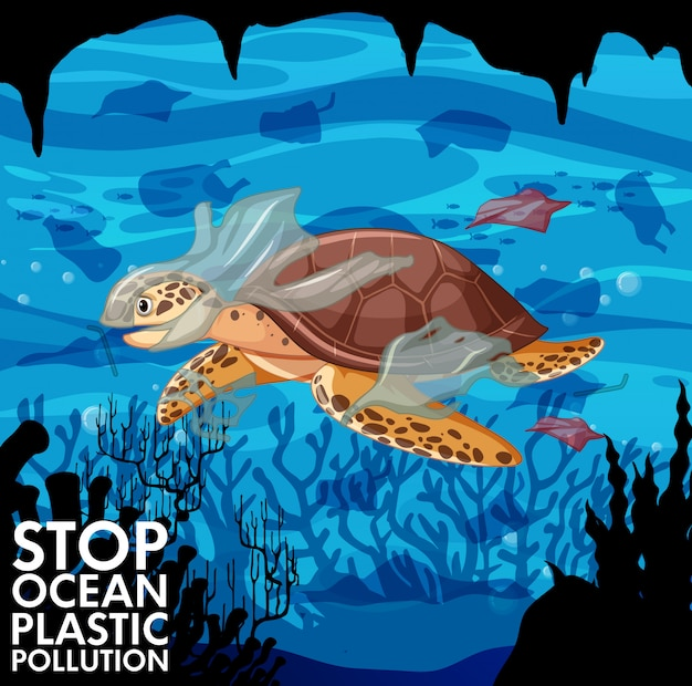 Zeeschildpad en plastic zakken in oceaan Gratis Vector