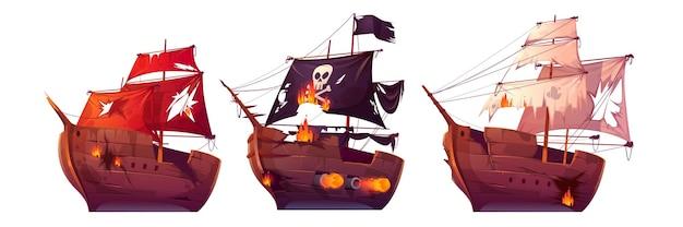 Zeeslag van houten schepen. strijd van piratengaljoen en zeilboten. Gratis Vector