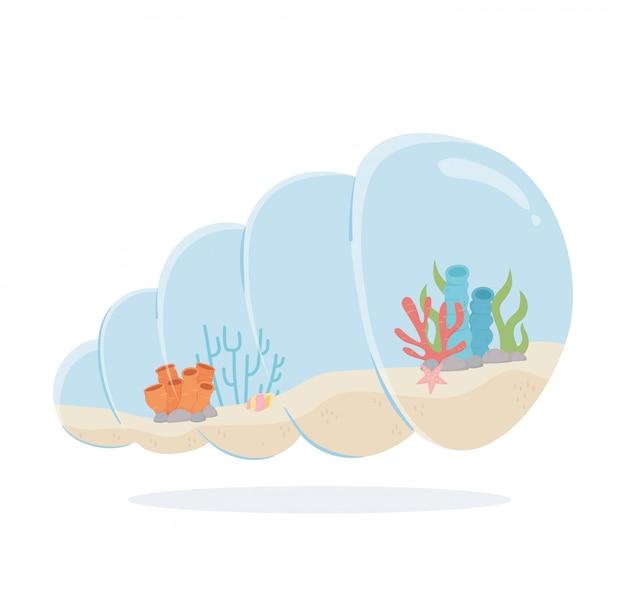 Zeester rif koraal zand slak shell vormige aquarium onder zee cartoon vector illustratie Premium Vector