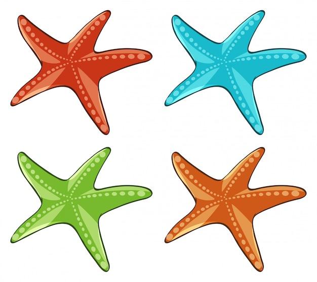 Zeester vier in verschillende kleuren Gratis Vector
