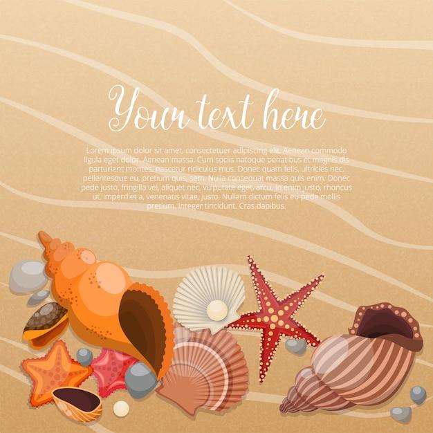 Zeesterren op zand met plaats voor de tekst en zeeleven dieren Premium Vector