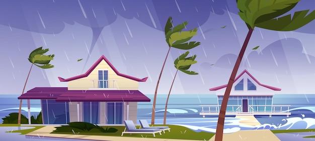 Zeestorm met regen en tornado op tropisch strand met bungalows en palmbomen Gratis Vector