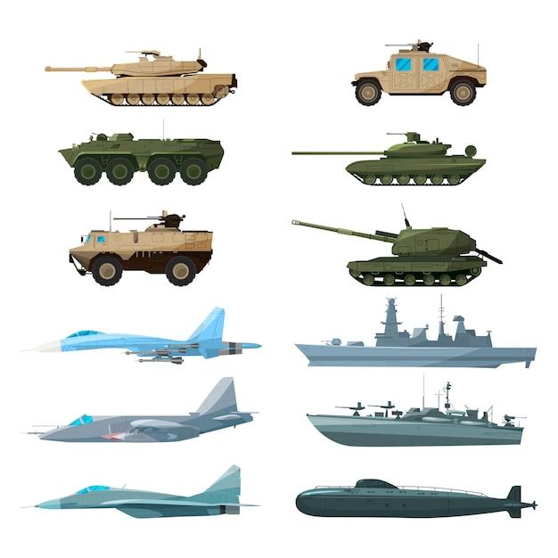 Zeevaartuigen, vliegtuigen en verschillende oorlogsschepen. illustraties van artillerie, gevechtstanks en subma Premium Vector