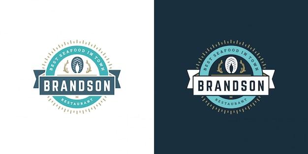 Zeevruchten logo of teken vector illustratie vismarkt en restaurant embleem sjabloon ontwerp visfilet steak Premium Vector