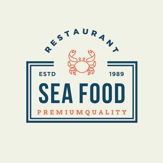 Zeevruchtenkrab voor embleemontwerp van de restaurantlijn Premium Vector