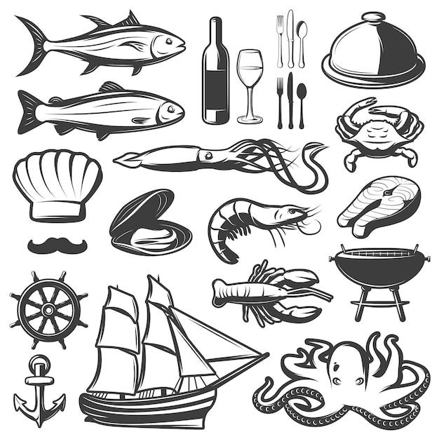 Zeevruchtenpictogram met vissen en wijnstok wordt geplaatst die in restaurant worden voorbereid dat Gratis Vector