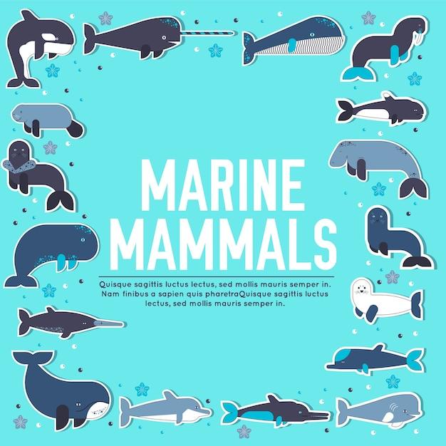 Zeezoogdieren dierlijke collectie iconen set Premium Vector