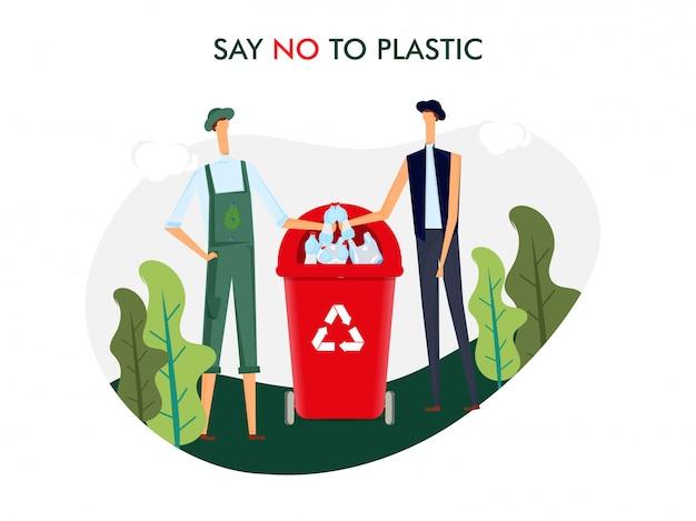 Zeg nee tegen plastic. mannen gooien plastic fles in prullenbak voor vervuilingsprobleem Premium Vector