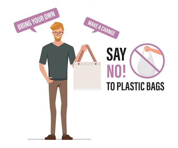 Zeg nee tegen plastic zakken en draag een stoffen tas. vervuiling probleem concept. Premium Vector