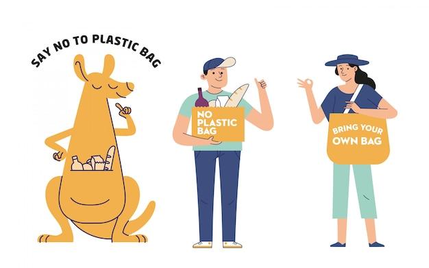 Zeg nee tegen plastic zakken, vervuiling en milieuprobleem Premium Vector