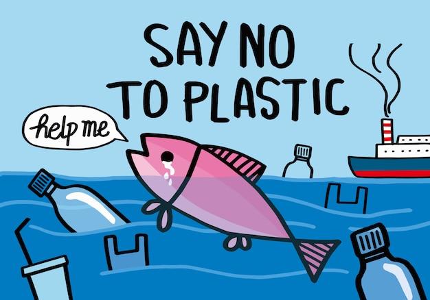 Zeg nee tegen plastic. Premium Vector