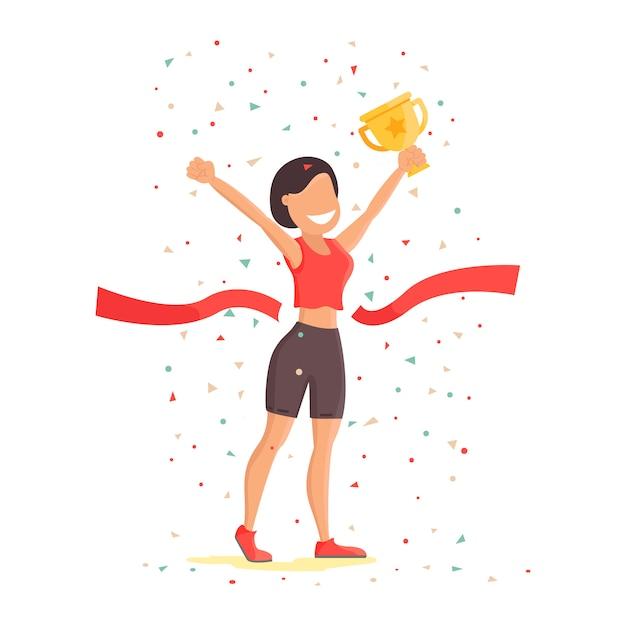 Zege. het meisje verheugt zich in de overwinning en houdt de beker vast Premium Vector