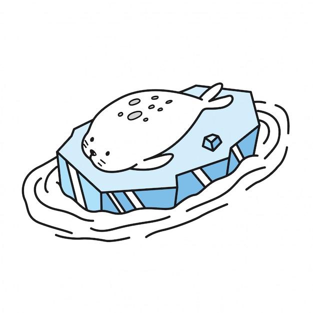 Zegel pictogram walrus cartoon Premium Vector
