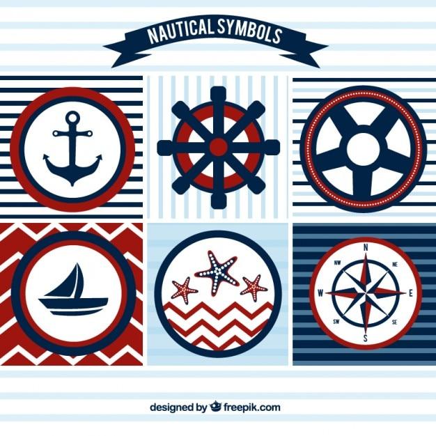 Zeilen badges in rode en blauwe kleuren Gratis Vector